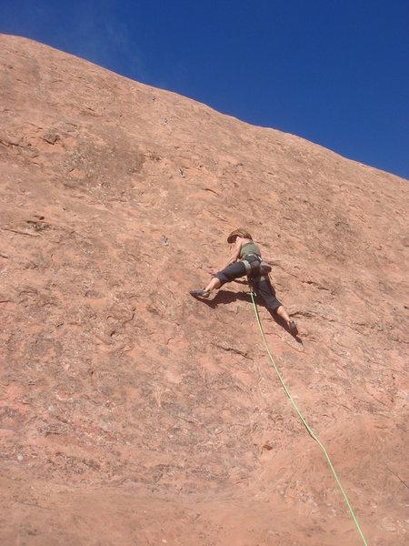 Rock Climbing Photo: Nan leading Virgin Bolters.