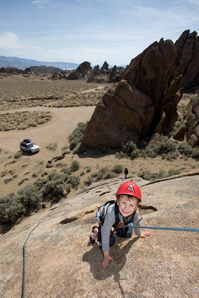 Bryson Fienup (at age 4) climbs Fiddlin' Buckaroo, in the Alabama Hills