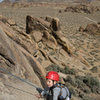 Bryson Fienup (at age 4) nears the anchors atop Rootin' Tootin' Rhythm and Rhythm of the Range, in the Alabama Hills