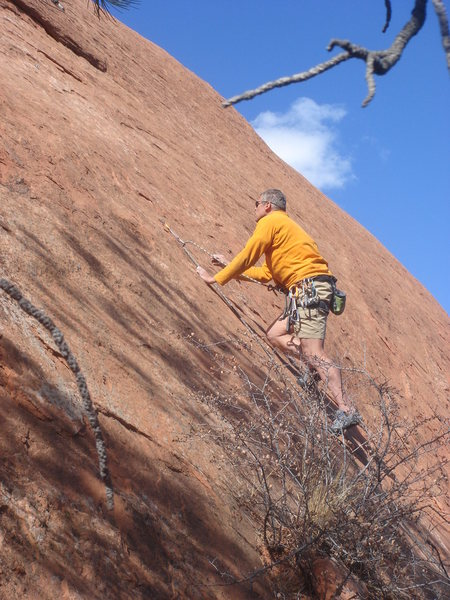 Rock Climbing Photo: Bruce Vollmer leading Gomers.  Photo by Ann S.