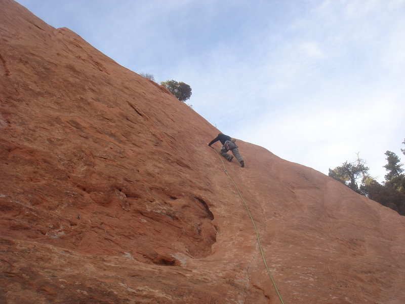 Rock Climbing Photo: Starting up Mo' Verde.  Photo by Lee Rittenmeyer.