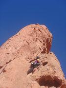Rock Climbing Photo: Myong eyeing the crux.