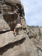 Rock Climbing Photo: Bruce Vollmer eyeing the crux of Overpass.