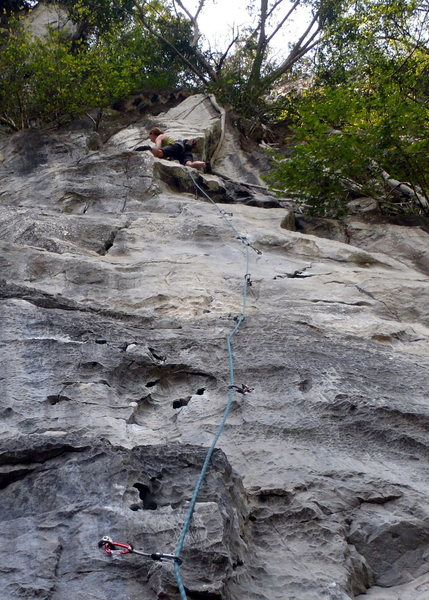 Rock Climbing Photo: Anja finishing out Elephant Man. Butterfly Valley-...