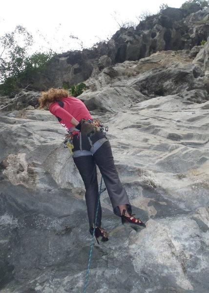 Anja on Very Tot 6b+ Butterfly Valley-Vietnam