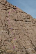 Rock Climbing Photo: Show's the approach gully plus 1st, 3rd, 4th, and ...