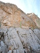 Rock Climbing Photo: Route climbs up to right side of small roof