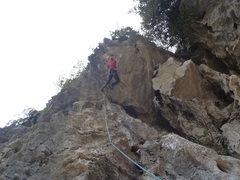 Rock Climbing Photo: Anja on Barefoot Vietnamese on Moody Beach in Ha L...