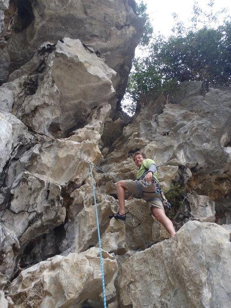 Rock Climbing Photo: Ken on Khong Co Gi Moody Beach Vietnam