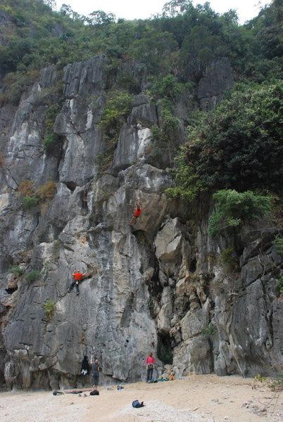 Left wall of Moody Beach.  Climbers on Barefoot Vietnamese and Mao De.