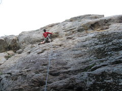 Rock Climbing Photo: R Shore at the crux of Battle of the Bulge 5.10+