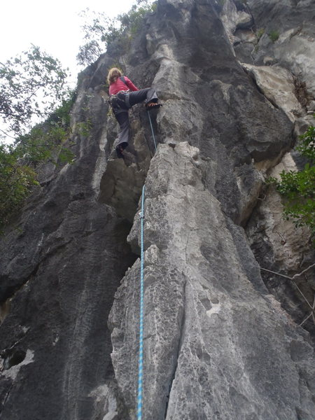 Rock Climbing Photo: Anja on Honeymooner's Delight Moody Beach Vietnam.