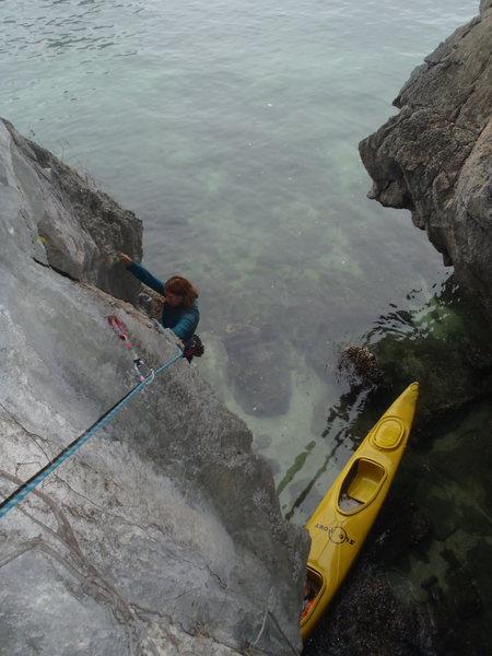 Anja following to the nice ledge.
