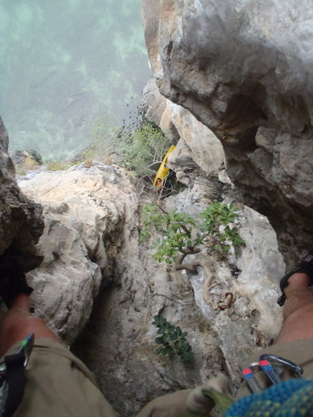 Rock Climbing Photo: Looking down from mid way up P1 of screw loose.