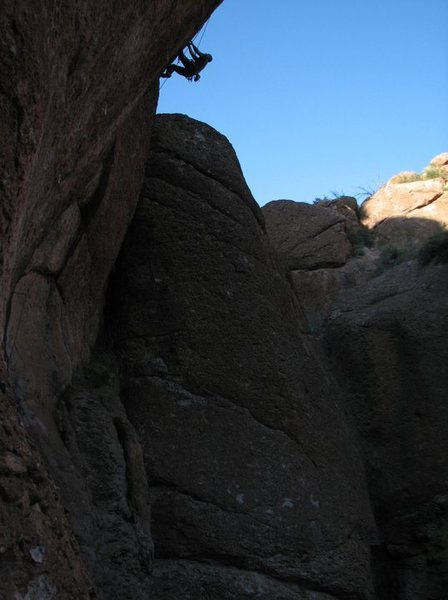Rock Climbing Photo: Working the top section of the route.
