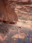 Rock Climbing Photo: cranking around the layback on pitch 1