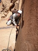 Rock Climbing Photo: The wide section at the bottom. We climbed it in t...