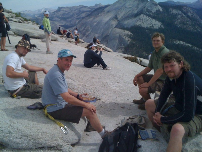 The crew hungover on Half Dome.