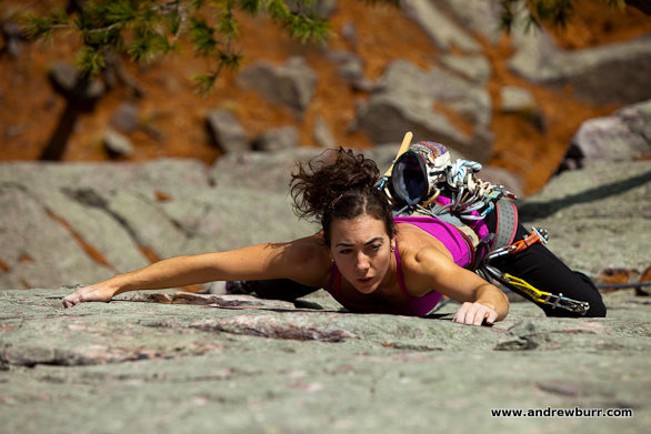 Kayte Knower and the Climbing Magazine photo that made her famous. Photo by Andrew Burr.