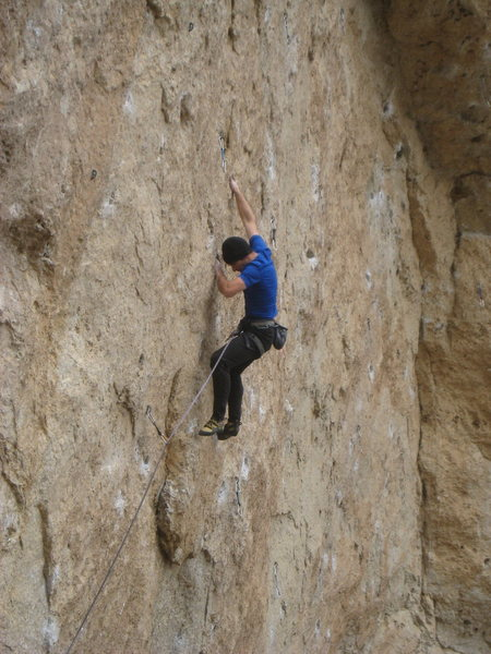 Rock Climbing Photo: On the send, just below the crimp move.  Photo by ...