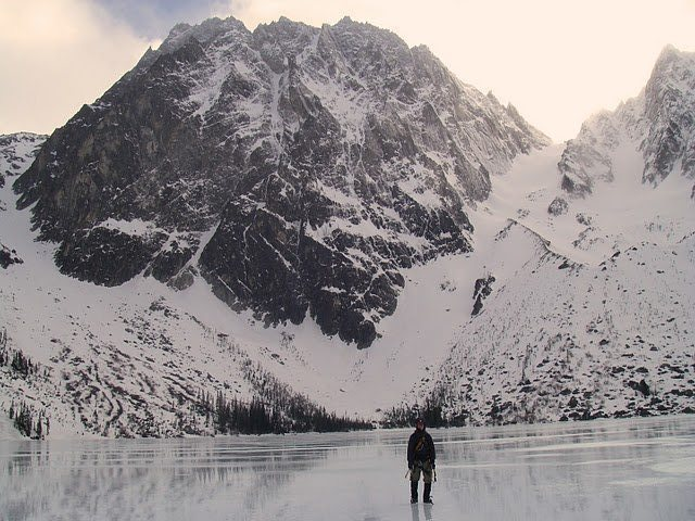 Rock Climbing Photo: Standing on the lake looking back