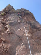 Rock Climbing Photo: Leading the 3rd (final) pitch.  It's actually way ...