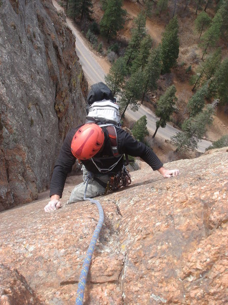 Crack Parallel - P2, N. Cheyenne Canyon.<br> <br> Photo by Lee Rittenmeyer.
