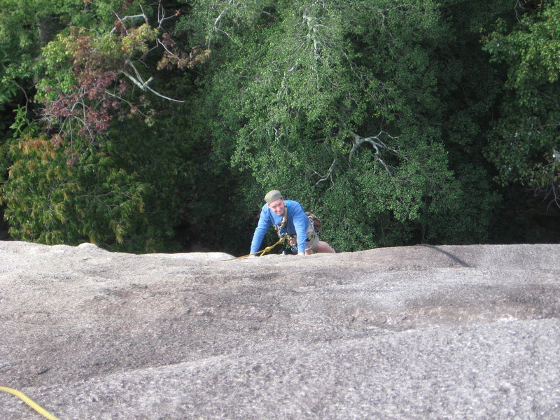 roger awash in a sea of granite on pitch two. happily!!