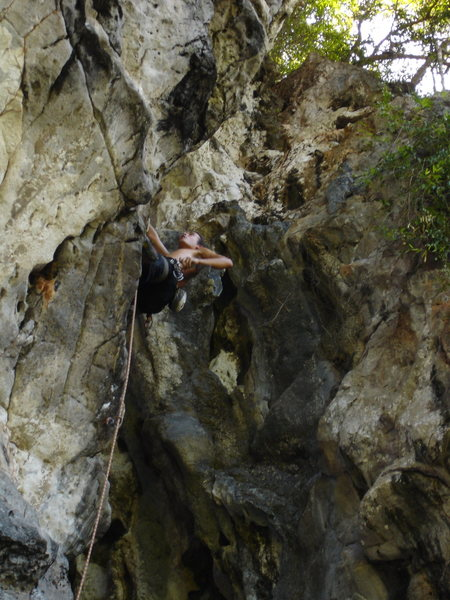 Alex on the opening route of The Mitt...