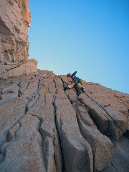 Rock Climbing Photo: Aerili staying between the lines.