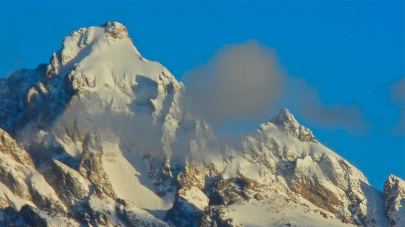 Winter conditions on Grand Teton and Mt. Owen.