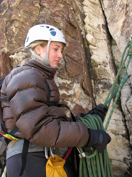 Rock Climbing Photo: Gwen at the top of the second pitch on Dream of Wi...
