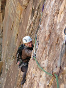 Rock Climbing Photo: Gwen at the start of the traverse on the third pit...