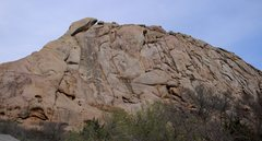 Rock Climbing Photo: View from the parking lot - note the Snake's Head ...