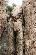 Rock Climbing Photo: A variation of the crux sequence, staying on the a...