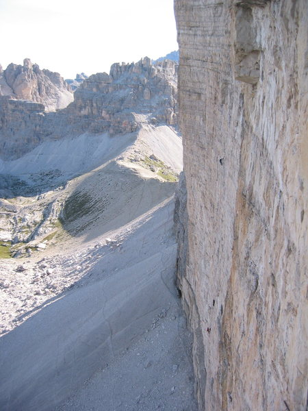 Looking at climbers on the Hasse-Brandler route from the Comici-Dimai.<br> <br>