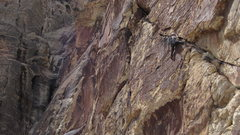 Rock Climbing Photo: Ian leads the left leaning crack to 5.7 chimney (p...