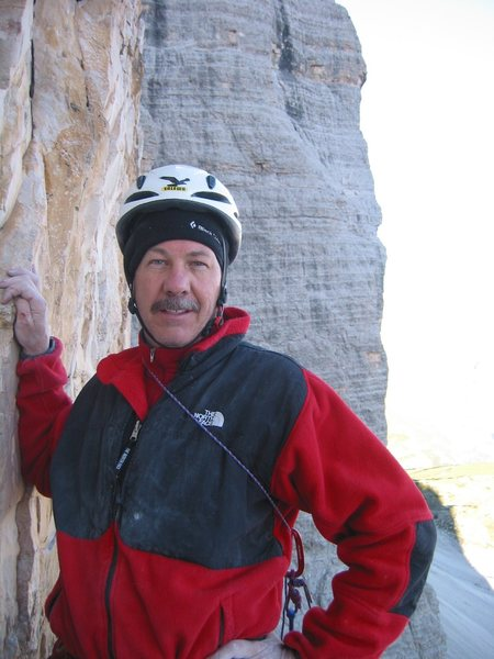 Kim Miller - dressed for ice climbing.