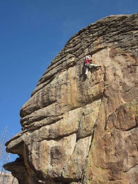 Rock Climbing Photo: Finishing the crux on Powder Monkey.