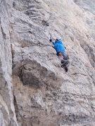 Rock Climbing Photo: Elias cruizing past the 3rd bolt on Kozata Baba.  ...