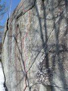 """Rock Climbing Photo: """"The Eye of the Cougar"""" follows the thin..."""