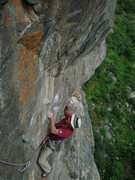 Rock Climbing Photo: Tom on P3, the cool traverse to Ashtray Ledge, 7-3...