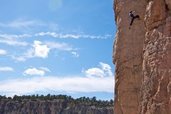 Rock Climbing Photo: Climbing through the pumpy upper part of the route...