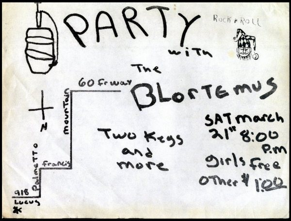 The Blortemus party flier (circa 1981)
