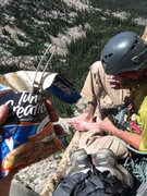 Rock Climbing Photo: Lunch on Pitch 5.  Halfway there.