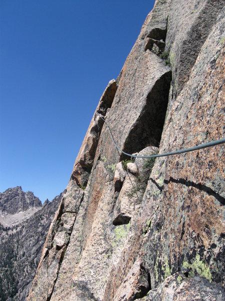 Rock Climbing Photo: Heady, exposed 5.7 taverse on Pitch 6.  Good job B...