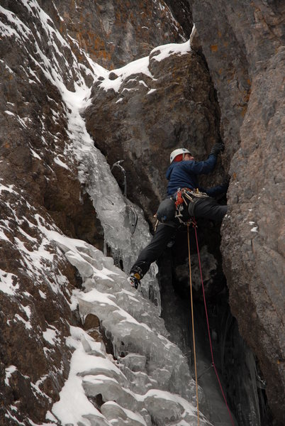 Rock Climbing Photo: Jarron goes for the thin start on P1 - The Skyligh...