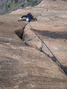 Rock Climbing Photo: One of the thin hands cruxes on P3