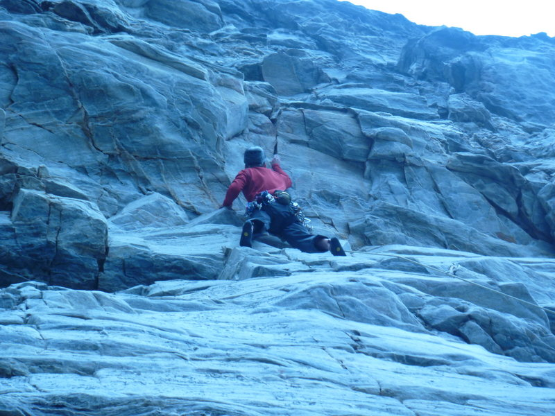 Rock Climbing Photo: Feeling out the start of the crux.