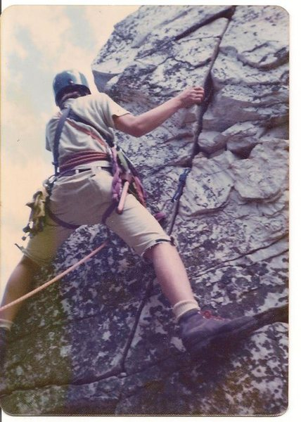 My brother Tom leading a route (Devil's Pulpit?) at Monument Mountain near Great Barrington, MA.  RR's, bowline on a coil, some hexes and stoppers.  Did we even have a clue what we were doing?